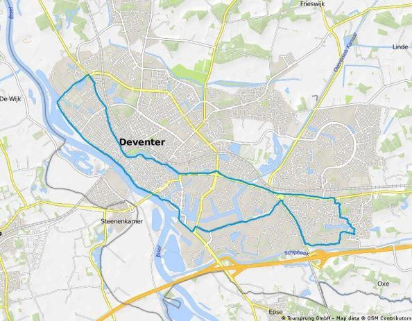 Een rondje van van 18 km rondom Deventer.